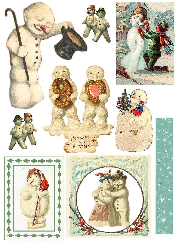 snowman printables: Christmas Cards, Snowman Printable, Collage Challenge, Challenges 09, Vintage Snowmen, Snowman Collage, January Snowman, Vintage Snowman, Free Printable