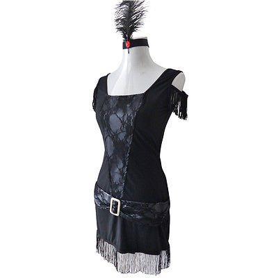 1920s Flapper Gt Gatsby Gangster Fancy Dress Womens Costume 8-20 PLUS SIZE