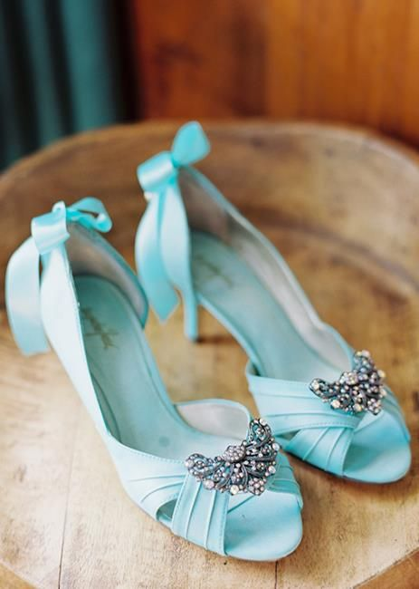 butterfly crystal clips on aqua wedding shoes