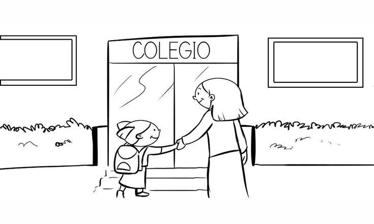 Dibujo de niña llegando al colegio - Imagui