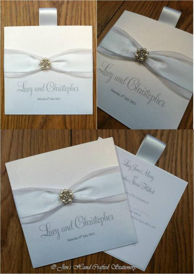 White wallet Wedding invitation  www.jenshandcraftedstationery.co.uk www.facebook.com/jenshandcraftedstationery