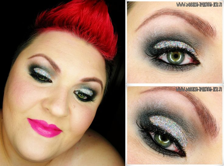 Carnival makeup, glitter, black and silver