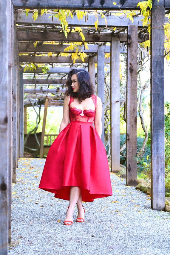 The High Low Red Skirt by KTRCOLLECTION