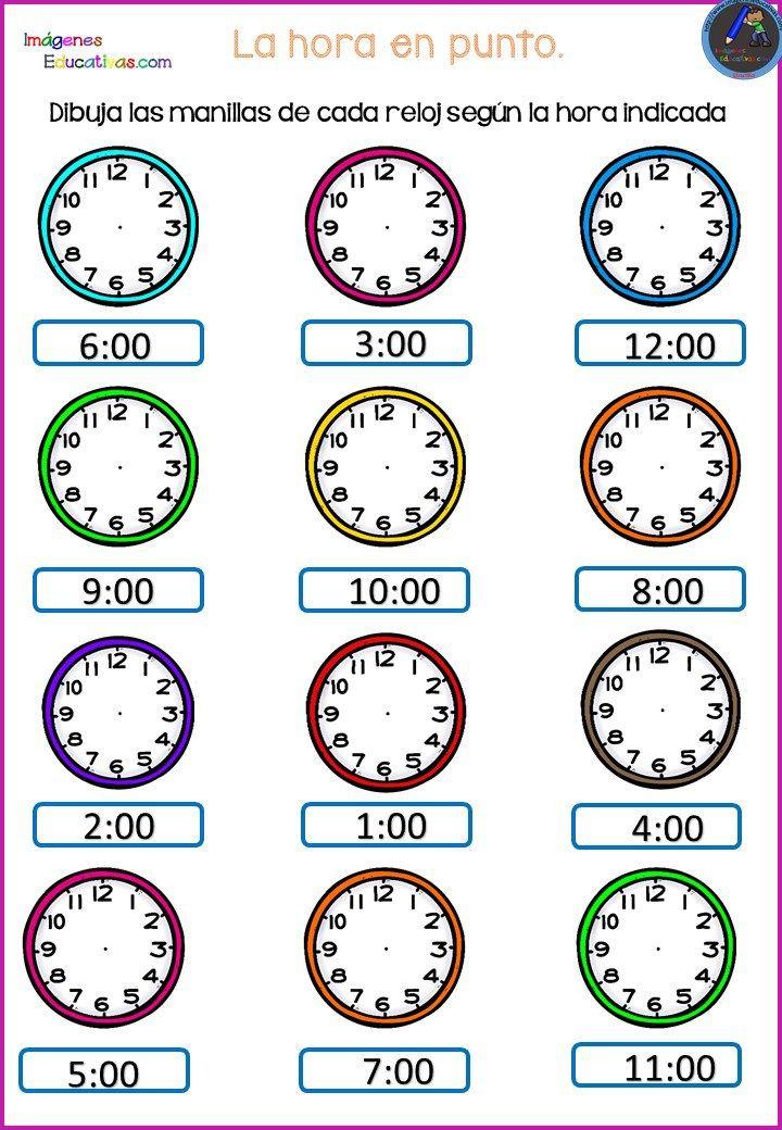 Divertidos Relojes Para Trabajar Las Horas 2 Actividades De Matemáticas Preescolares Reloj Para Niños Actividades De Matematicas