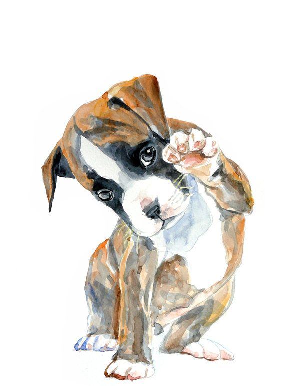 Puppy  watercolor painting  art print dog by MundoMeo on Etsy, $14.00