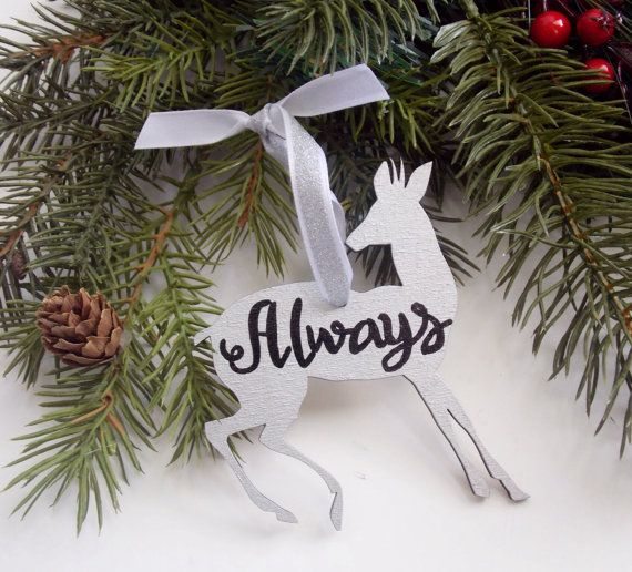 Always Doe Ornament, Wood Ornament, Hand Painted Ornament, Patronus Ornament