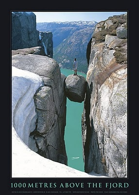 The Kjerag rock is a large boulder spectacularly wedged in the mountains of Forsand.