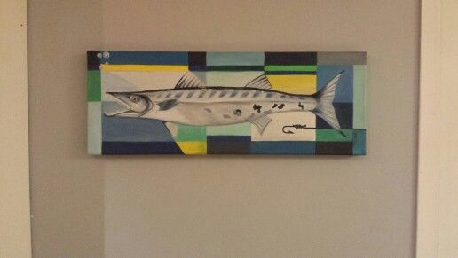 Cubist barracuda painting