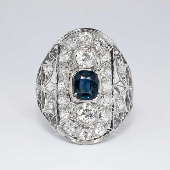 Lacey Gorgeous 1920's #Sapphire & Old European Cut #Diamond #Ring #Platinum | Antique & Estate #Jewelry | JewelryFinds.com Price: $2999.00 What a beautiful late #Edwardian era diamond encrusted and sapphire #cocktail ring! It is enormous! And will make a fabulous pointer or middle finger ring for someone who truly loves vintage big diamond rings! #rings #diamondrings
