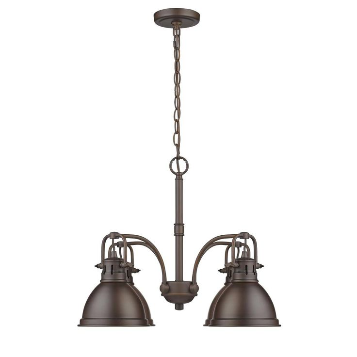Duncan 4 Light Nook Chandelier in Rubbed Bronze with Rubbed Bronze Shades