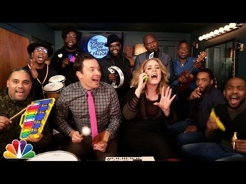 "Adele, Jimmy Fallon, & the Roots - ""Hello"" Classroom Edition. LOVE. - Watch Adele join Jimmy Fallon & The Roots on The Tonight Show to perform her single ""Hello"" with classroom instruments!"
