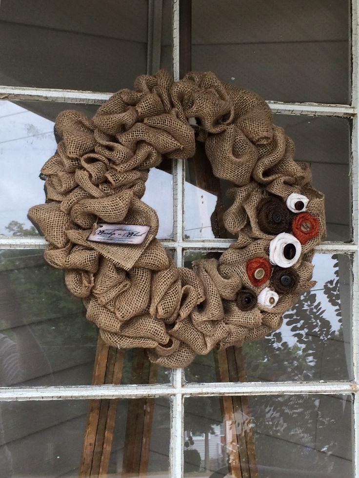 "18"" burlap bubble wreath with fall colored burlap rosettes #burlap #buttons #wreath"