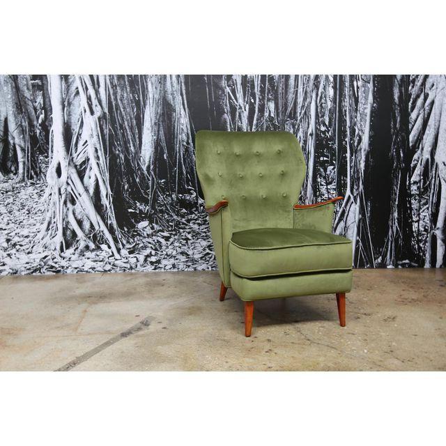 Scandinavian Green Velvet Wingback Chair Price: $935