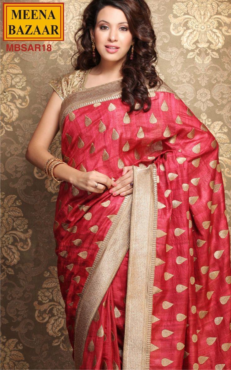 Zari Embroidery Saree on Raw Tussar Fabric
