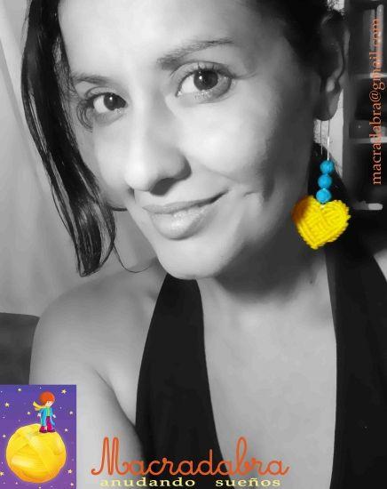 #Macrame Pendientes de Corazones Amarillos