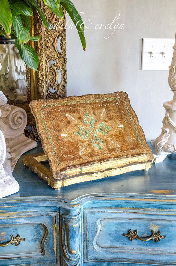 Rare Vintage Italian Florentine Book Stand Bible Stand