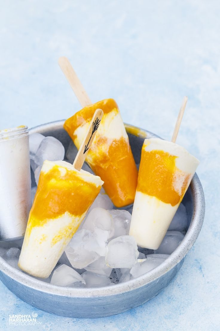 Mango Yogurt Ripple Popsicles