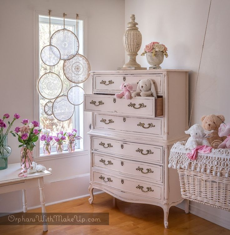 """Little Boho"" Bohemian baby nursery Dresser paint color is ""Little Piggy"" from the Tones For Tots line from Fusion Mineral Paint"