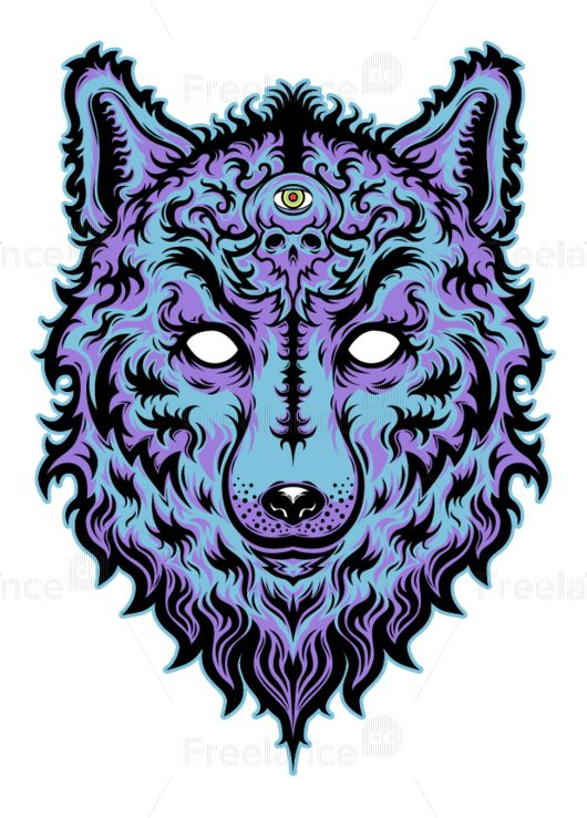 Print for tattoo wolf. Buy Image for $ 10 #tattoo #wolf #print #design #vector #idea #creative #freelancediscount