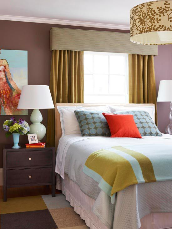 master bedroom: only spot for queen size bed was under a narrow window. valance and draperies add 8 in to either side of window, making it appear wider than bed and giving space balance