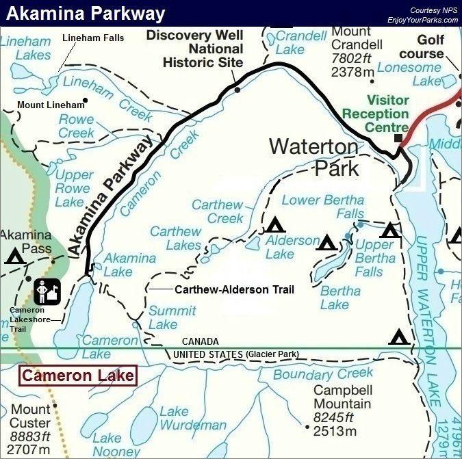 Akamina Parkway Map, Waterton Lakes National Park Map