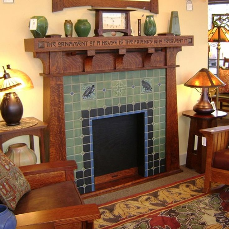 Arts and Crafts fireplace with tile by Rookwood Pottery-  ha, ha, ha.... my made-up living room isn't too far off.