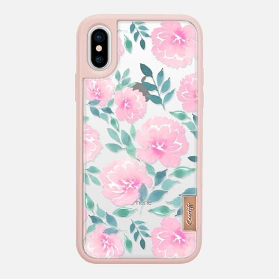 Casetify iPhone X Classic Grip Case - Pink floral pattern n.1 by Psychae