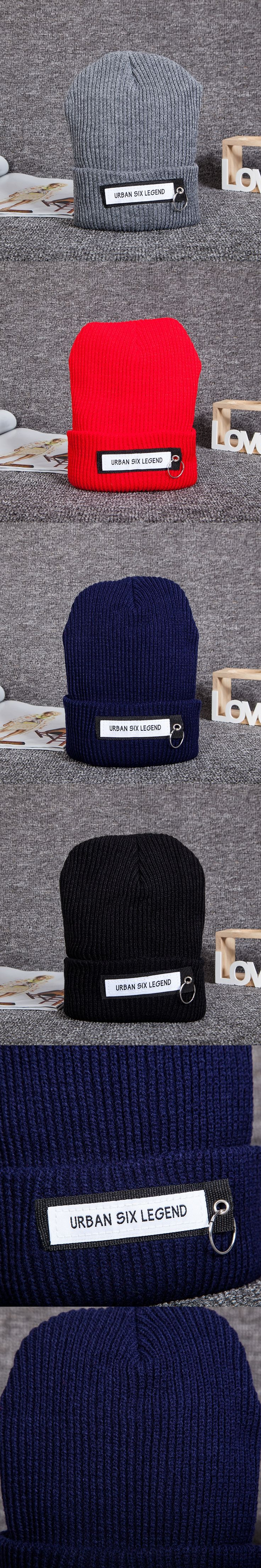 1 Piece URBAN SIX LEGEND Patch Cloth Patchwork Iron Ring Knitted Wool Hat Unisex Beanies Hat Winter Warm Ski Cap 4 Colors 10183