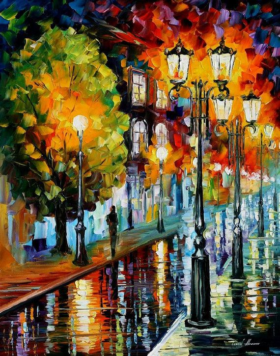 "After A Night Rain — PALETTE KNIFE Cityscape Modern Wall Art Deco Oil Painting On Canvas By Leonid Afremov - Size: 24"" x 30"" (60 cm x 75 cm)"