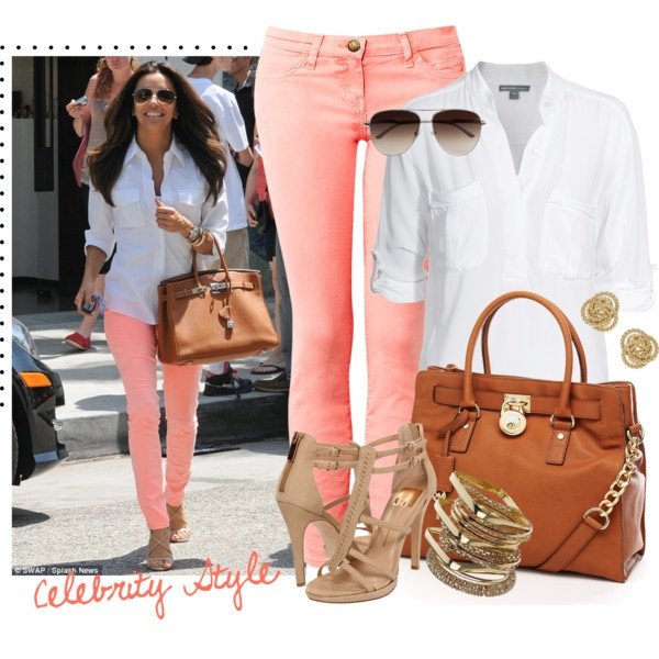 Peach Jeans: Fall Clothing, Celebrity Style, Coral Pants, Colors Jeans, Pink Pants, White Shirts, Summer Outfits, Eva Longoria, Spring Outfits