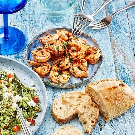 Boodschappen - Knoflookgamba's met Griekse kruiden
