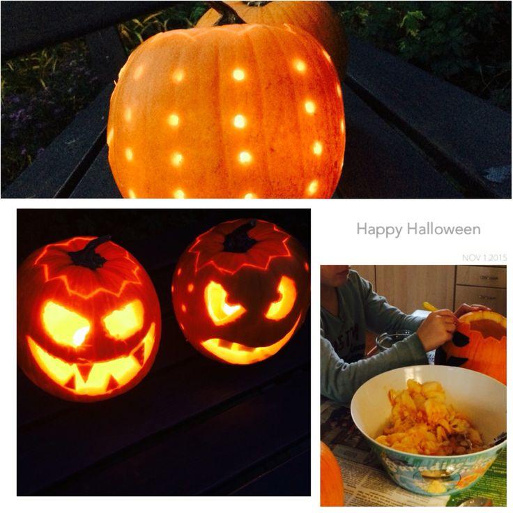 Pompoen versieren. Zelf gesneden met mesje, zoon met prikpen, ging prima! Gaten met boormachine gedaan. #Halloween