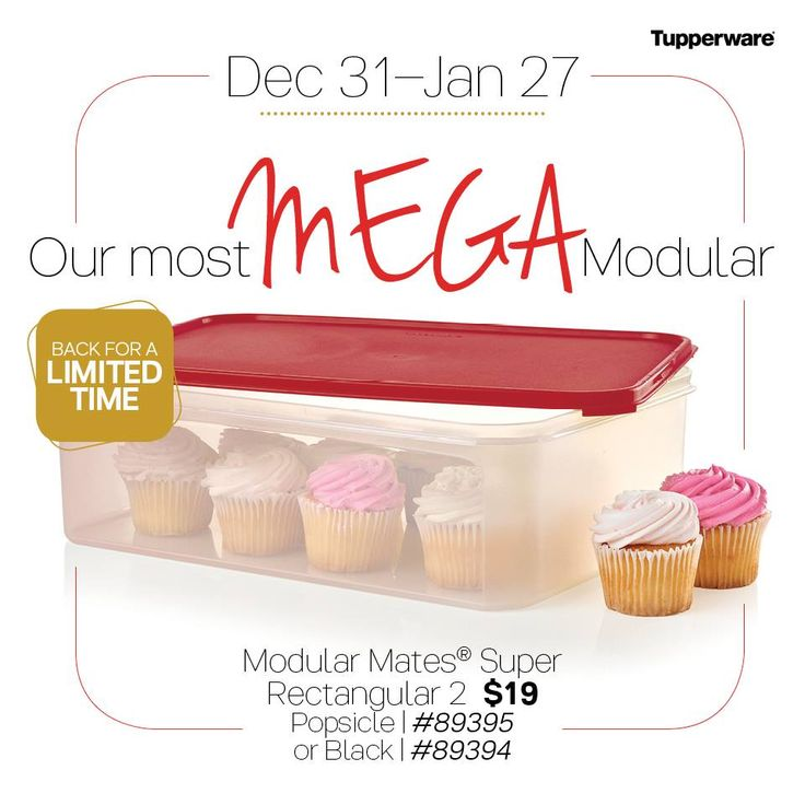 Tupperware Modular Mates Super Rectangle 2 - Our largest available size! 39 cup/9.4 L or 15 x 11 x 4½″/37.8 x 28.4 x 11.5 cm