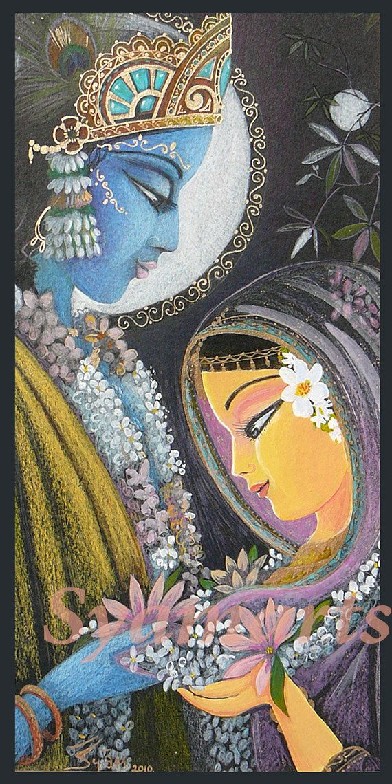 Divine couple original pencil drawing or prints note cards devotional art Syam Marquez Radha Krishna eternal love vedic