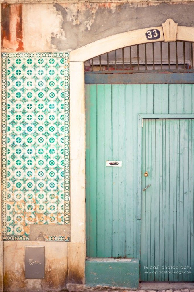 Tiffany blue door 33 of the Azulejo house in Lisbon, Portugal. #turquoise #aqua