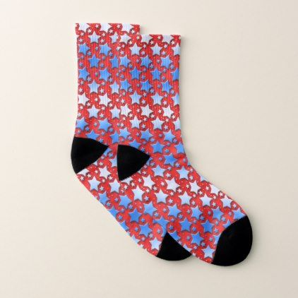 Blue and White Stars on Red Socks - independence day 4th of july holiday usa patriot fourth of july