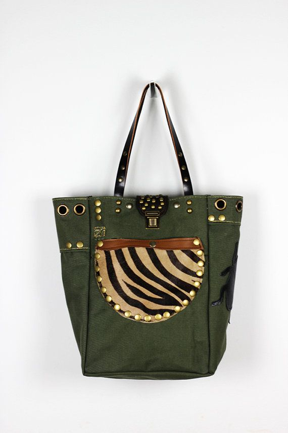 Canvas & Leather Tote Bag with Exterior Leather by NeroliHandbags