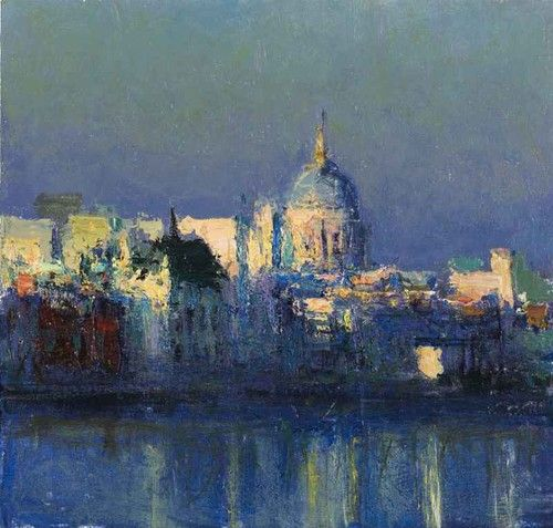 Andrew Gifford - From Southbank Towards the City study 2 - 2012 Oil on panel 8¼ x 8¾ ins (21.01 x 22.00 cms)