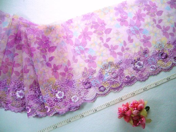 Lace trim Embroidered fabric Tulle lace Net fabric by raincrazy133, $10.25