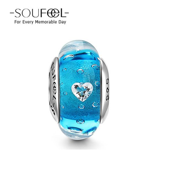 Soufeel Sea of Love Heart-shaped CZ Stone Murano Glass Bead, for every memorable day. The bead fits all bracelets.