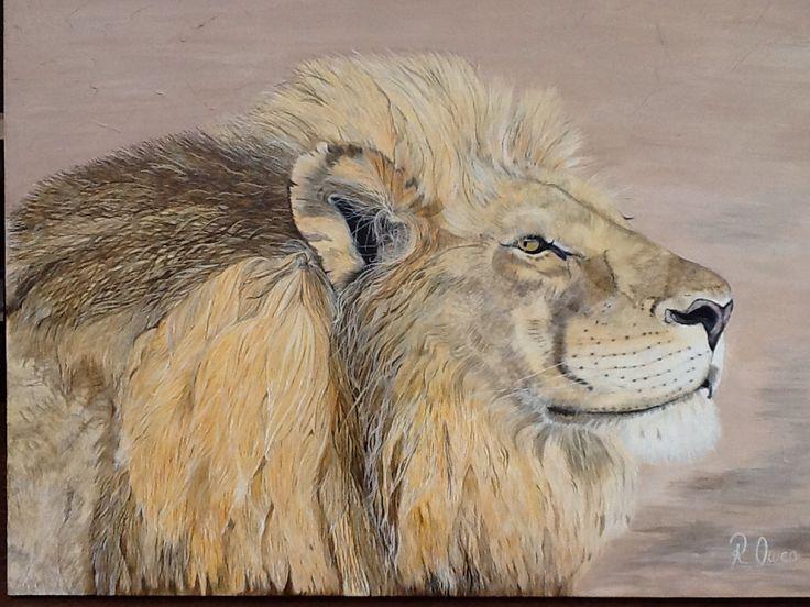 """""""Tau"""" Means Lion   is on a large canvas  acrylic & Texture paint   92cm x 122cm For SALE $1100  (www.artonpartridge.wix.com/artist)"""