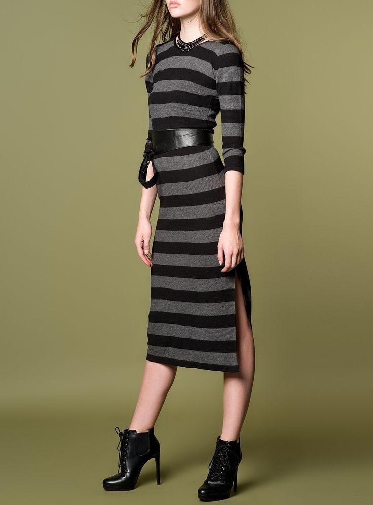 Suni Deri Detaylı Kışlık Elbise 5008 | Mixray.com