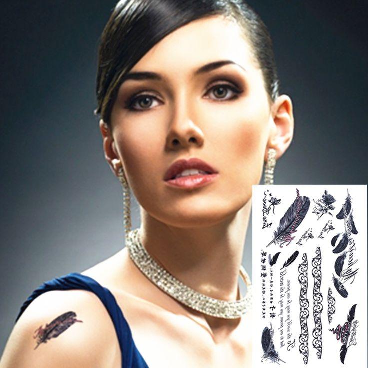 Элегантный черный перо временные татуировки боди-арт флэш-тату наклейки 17 * 10 см водонепроницаемый взрослых хна тату поддельные татуировки наклейки