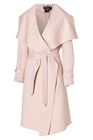 Cream coat with draped collar