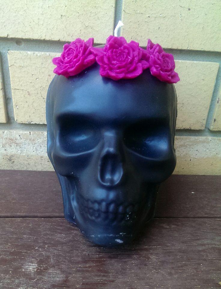 Roger & Molly Flowercrown Skull   black cherry.