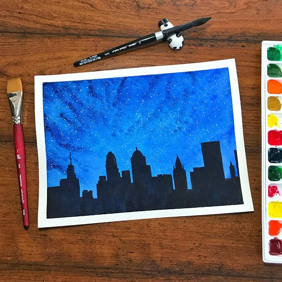 This Is An Original Watercolor Painting Of The Buffalo Ny Skyline