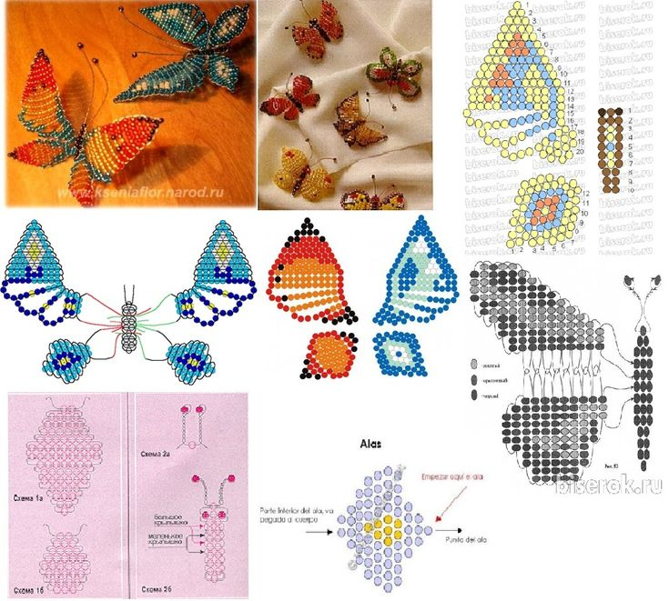 Beaded butterflies of different colors and sizes.
