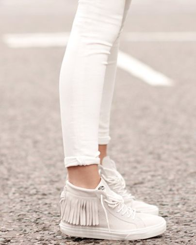 All white outfit game strong.  Blanc de Blanc Sk8-Hi Mocs Photo: @madewell1937
