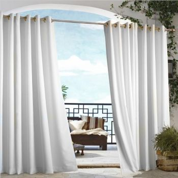 White Gazebo Solid Grommet Top Outdoor Curtain Panel will add elegance to your outdoor space.  Clean and crisp, imagine the possibilities!