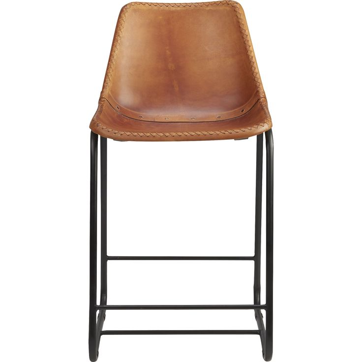 """roadhouse 24"""" leather counter stool    CB2"""